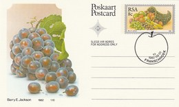 1982 First Day 8c SOUTH AFRICA Postal STATIONERY CARD Illus GRAPES  FRUIT Cover Stamps Rsa  Banana - Fruits
