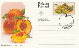 1982 First Day 8c SOUTH AFRICA  Postal STATIONERY CARD Illus PEACH  FRUIT Cover Stamps Rsa Grapes  Banana - Fruits