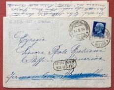 FERMO POSTA BARCELLONA BUSTA CON IMPERIALE L.1,25 ISOLATO DA S.COLOMBANO ALL'AMBRO IN DATA 1/8/34 CON CONTENUTO - 1900-44 Vittorio Emanuele III