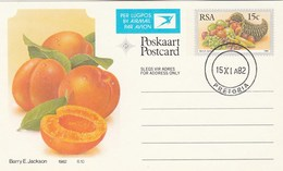 1982 First Day 8c SOUTH AFRICA Postal STATIONERY CARD Illus APRICOT FRUIT Cover Stamps Rsa Grapes  Banana - Fruits