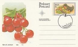 1982 First Day 8c SOUTH AFRICA  Postal STATIONERY CARD Illus CHERRIES FRUIT Cover Stamps Rsa Grapes  Banana - Fruits