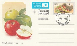 1982 First Day 15c SOUTH AFRICA AIRMAIL Postal STATIONERY CARD Illus APPLE Cover Stamps Rsa Grapes  Banana - Fruits