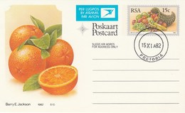 1982 First Day 15c SOUTH AFRICA AIRMAIL Postal STATIONERY CARD Illus ORANGES FRUIT Cover Stamps Rsa Grapes  Banana - Fruits