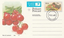 1982 First Day 15c SOUTH AFRICA AIRMAIL Postal STATIONERY CARD Illus CHERRIES FRUIT Cover Stamps Rsa Grapes  Banana - Fruits