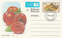 1982 First Day 15c SOUTH AFRICA AIRMAIL Postal STATIONERY CARD Illus PLUMB FRUIT Cover Stamps Rsa Grapes  Banana - Fruits