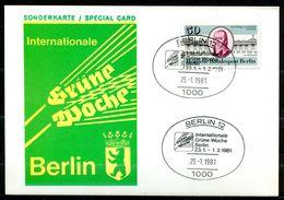 """Sonderkarte Germany Berlin 1981 Internationale.Grüne Woche M. Mi.Nr.639 U.SST""""Berlin 12- Intern.-Grüne Woche""""1 AK Used, - Factories & Industries"""