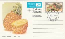 1982 First Day 15c SOUTH AFRICA AIRMAIL Postal STATIONERY CARD Illus PINEAPPLE FRUIT Cover Stamps Rsa Grapes  Banana - Fruits