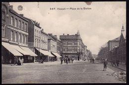 HASSELT 1912  - PLACE DE LA STATION - Zicht Op BRASSERIE EYGEN BILSEN - Hotel J. Steenacker - Hasselt