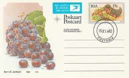 1982 First Day 15c SOUTH AFRICA AIRMAIL Postal STATIONERY CARD Illus GRAPES  FRUIT Cover Stamps Rsa  Banana - Fruits