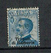 ITALY TRIPOLI DI BARBERIA 25cent Blue Used, Sassone 6, 1909 - 11. Auslandsämter