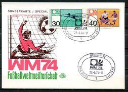 "Sonderkarte Germany Berlin 1974 Sonderkarte Fußball WM M. Mi.Nr.811/12 U.SST""Berlin 12- WM74-FIFA WORK CUP""1 AK Used, - Coppa Del Mondo"