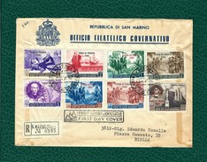 SAN MARINO 1952 - FDC - Fiera Di Trieste - 8 Valori Su Busta - Sa:SM S76 - FDC
