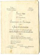 ECOLE SPECIALE MILITAIRE  ANNEE 1896   EXAMENS DE PASSAGE  QUESTIONNAIRE CAVALERIE  -  22 PAGES - Documents