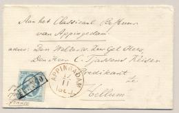 Nederland - 1860 - 5 Cent Willem III 1e Emissie Op Omslag Van APPINGADAM Naar Hellum - Periode 1852-1890 (Willem III)