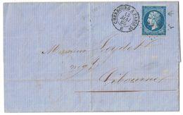 1860 - CACHET CAD AMBULANT CHERBOURG À PARIS ChP2° Sur LETTRE LAC Pour LIBOURNE AFFRANCHIE NAPOLEON N° 14 VARIÉTÉ - Marcophilie (Lettres)