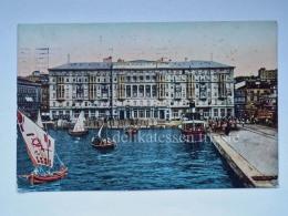 TRIESTE Vecchia Cartolina Hotel Savoia Piroscafo Animata - Trieste