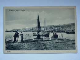 TRIESTE Vecchia Cartolina Molo San Carlo Animata Barca Vela 35278 - Trieste