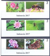 2017. Tajikistan, Flowers & Insects,International Philatelic Exhibition Indonesia, 3v With Labels, IMPERFORATED, Mint/** - Tadschikistan