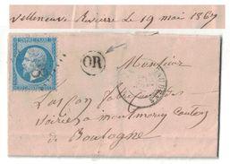 1867 - CACHET OR ORIGINE RURALE IDENTIFIÉE (VILLENEUVE De RIVIERE) GC 3608 CAD ST GAUDENS GARONNE Pour BOULOGNE - Marcofilie (Brieven)