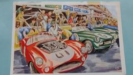 CPSM LE MANS 24 HEURES SARTHE COURSE AUTOMOBILE DERNIERS PREPARATIFS AVANT LE DEPART MUTUELLE INCENDIE 1966 - Le Mans
