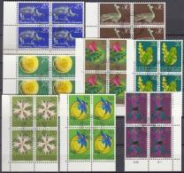 LIECHTENSTEIN, 536-543, 4erBlocks Eckrand, Gestempelt, 1971 - Used Stamps