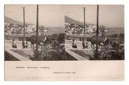 (Monaco) 060, Carte Stéréoscopique Stéréo, E Le Deley, La Montée, Dos Non Divisé - Monaco