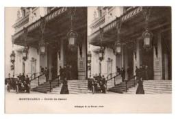 (Monaco) 061, Carte Stéréoscopique Stéréo, E Le Deley, Monte-Carlo, Entrée Du Casino, Dos Non Divisé - Monte-Carlo