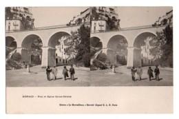 (Monaco) 063, Carte Stéréoscopique Stéréo, ELD, Pont Et Eglise Saint-Dévote, Dos Non Divisé - Monaco