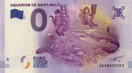35 SAINT MALO AQUARIUM N°2 BILLET ZERO EURO SCHEIN SOUVENIR 2017 BANKNOTE BANK NOTE PAPER MONNAIE - EURO