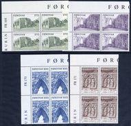 FAROE IS. 1988 Kirkjubøur Cathedral In Corner Blocks Of 4 MNH / **.  Michel 175-78 - Faroe Islands