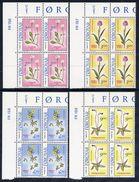 FAROE IS. 1988 Flowers In Corner Blocks Of 4 MNH / **.  Michel 162-65 - Faroe Islands
