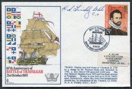 1972 GB Battle Of Trafalgar SIGNED Ship Cover. BFPS 1334 HMS VICTORY - 1952-.... (Elizabeth II)