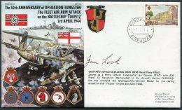 1994 Gibraltar Royal Navy Ship Cover. Operation TUNGSTEN, Fleet Air Arm, TIRPITZ 1944 Signed DMS Lock - Gibraltar