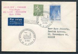 1956 Finland FINNAIR First Flight Cover Helsinki - Moscow, Russia - Airmail