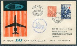 1959 Finland SAS First Flight Cover Helsinki - Copenhagen Denmark - Airmail
