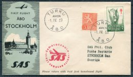 1959 Finland SAS First Flight Cover Turku - Stockholm Sweden - Airmail