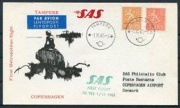 1965 Finland SAS First Flight Postcard Tampere - Copenhagen Denmark Mermaid - Airmail