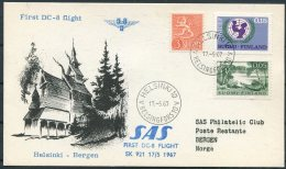 1967 Finland SAS First Flight Postcard Helsinki - Bergen Norway - Airmail