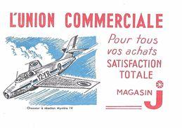 BUVARD - L'UNION COMMERCIALE - Magasin J - Avion Chasseur à Réaction Mystère IV - Buvards, Protège-cahiers Illustrés