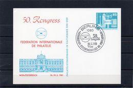 DDR, 1981, Ganzsachen-Karte, Philatelie-Kongress Wien, Sonderstempel - Cartes Postales Privées - Oblitérées