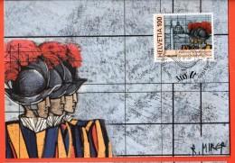 MID-02   Maximum-card 500 Years Of The Pontifical Swiss Guard, Anniversario Della Guardia Svizzera Pontificia. - Vatican