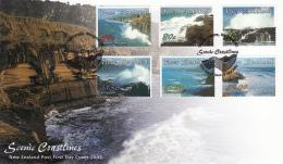 New Zealand 2002 FDC Scott #1799-#1804 Set Of 6 Scenic Coastlines - Géographie