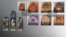 New Zealand 2002 FDC Scott #1812-#1818 Set Of 7 Church Interiors Christmas - Noël