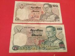 Lot De 2 Billets Thaïlandais 20 -10 BAHT 1978-81(TB) - Coins & Banknotes