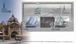 New Zealand 2002 Cover Scott #1827b Souvenir Sheet Of 3 America's Cup 2003 Stampshow Melbourne 02 - Expositions Philatéliques