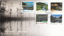 New Zealand 2003 FDC Scott #1880-#1884 Set Of 5 Scenic Waterways - Géographie