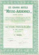 """Action Ancienne - Les Grands Hôtels """"Meuse-Ardennes"""" - Titre De 1924 -Belgique - Toerisme"""