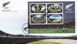 New Zealand 2004 FDC Scott #1920a Souvenir Sheet Of 4 Rugby Sevens Joint With Hong Kong - Emissions Communes