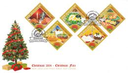 New Zealand 2004 FDC Scott #1978-#1982 Set Of 5 Food Christmas Fare - Alimentation