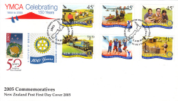 New Zealand 2005 FDC Scott #1997-#2002 Set Of 6 Rotary International, Lions Club, YMCA - Rotary, Lions Club
